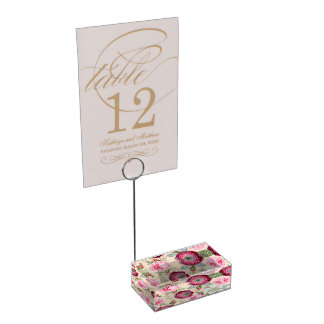 Chic Country Signature Pink Floral Table Card Holders