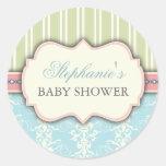 Chic Damask & Stripe Baby Shower Favour Sticker