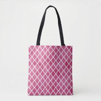 Chic Dark Pink Watercolor Style Quatrefoil Pattern Tote Bag