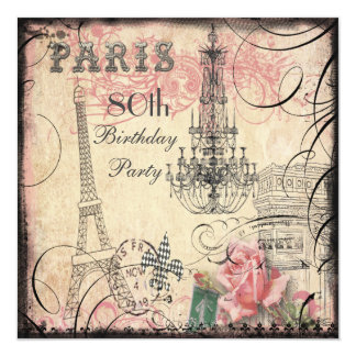 Chic Eiffel Tower & Chandelier 80th Birthday 13 Cm X 13 Cm Square Invitation Card