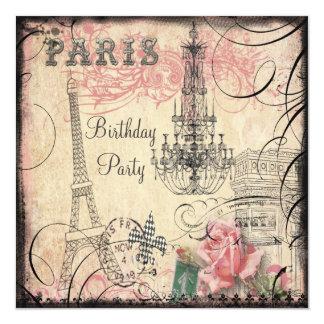 Chic Eiffel Tower & Chandelier Any Age Birthday 13 Cm X 13 Cm Square Invitation Card
