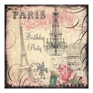Chic Eiffel Tower & Chandelier Any Age Birthday Card
