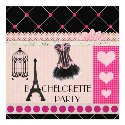 Chic Eiffel Tower Pink Paris Bachelorette Party Announcement