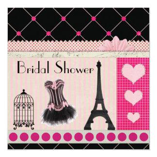 Chic Eiffel Tower Pink Paris Bridal Shower 13 Cm X 13 Cm Square Invitation Card