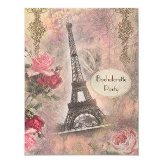 Chic Eiffel Tower & Roses Bachelorette Party 11 Cm X 14 Cm Invitation Card