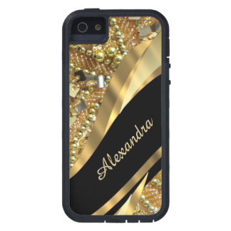 Chic elegant black and gold bling personalized case for the iPhone 5
