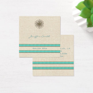 Chic elegant dandelion turquoise stripes square business card