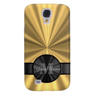 Chic elegant gold personalized monogram galaxy s4 case