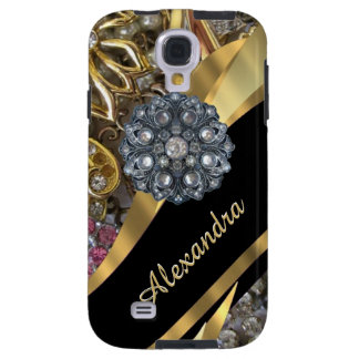 Chic elegant gold rhinestone bling personalized galaxy s4 case