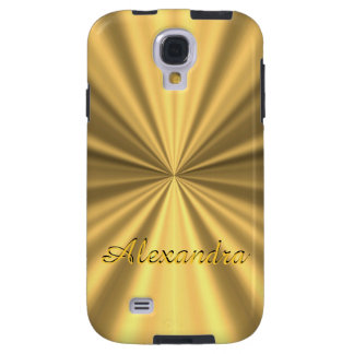 Chic elegant golden personalized faux metallic galaxy s4 case