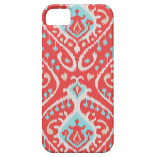 Chic elegant red and turquoise tribal ikat print iPhone 5 case