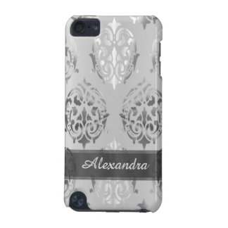 Chic elegant silver gray personalized damask iPod touch 5G case