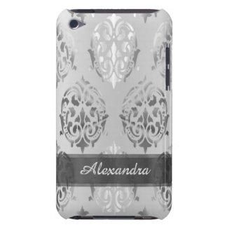 Chic elegant silver gray personalized damask iPod touch case