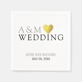 chic elegant wedding reception party monogrammed paper napkin