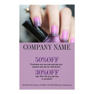 chic fashion beauty salon ombre purple nail artist 14 cm x 21.5 cm flyer