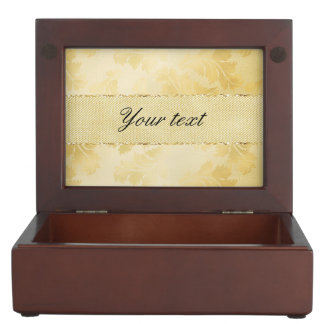 Chic Faux Gold Foil Leaves and Glitter Keepsake Box