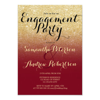 Chic faux gold glitter burgundy engagement party card