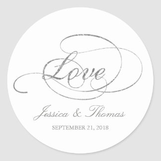 Chic Faux Silver Foil Wedding Favour Template Classic Round Sticker