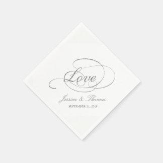 Chic Faux Silver Foil Wedding Reception Template Paper Napkin