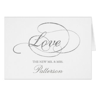 Chic Faux Silver Foil Wedding Thank You Template