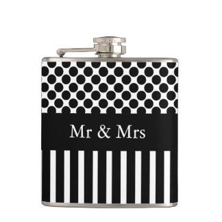 "CHIC FLASK_""Mr & Mrs""_BLACK STRIPES/DOTS ON WHITE Hip Flask"