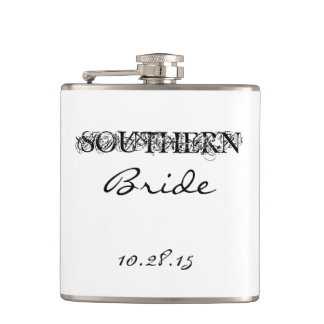 "CHIC FLASK_""Southern Bride"" BLACK/WHITE Hip Flask"