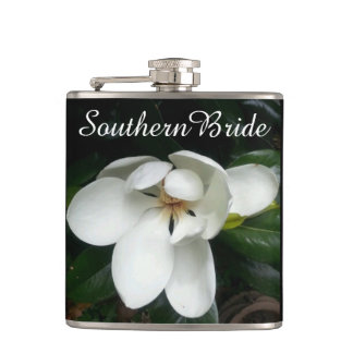 "CHIC FLASK_""Southern Bride"" WHITE MAGNOLIA Hip Flask"