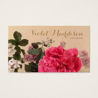 Chic Floral Event Planner Business Card