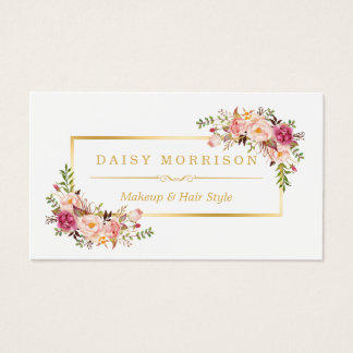 Chic Floral Gold Frame Makeup Artist Beauty Salon Business Card