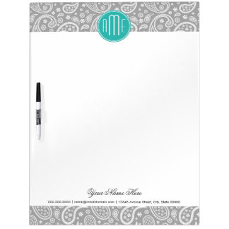 Chic Floral Gray Paisley Pattern & Blue Monogram Dry-Erase Boards