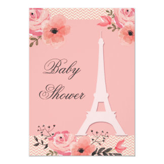Chic Floral Paris Eiffel Tower Baby Shower 13 Cm X 18 Cm Invitation Card