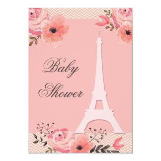 "Chic Floral Paris Eiffel Tower Baby Shower 5"" X 7"" Invitation Card"