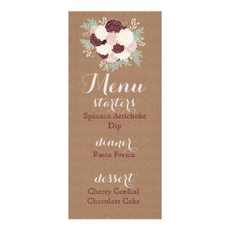Chic Floral Reception Menu- Dark Wine Accent Customized Rack Card