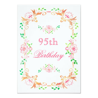 """Chic Floral Watercolor 95th Birthday Double Sided 5"""" X 7"""" Invitation Card"""