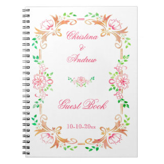 Chic Floral Watercolor Wedding Guest Book Spiral Note Books