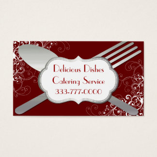 Chic Fork & Spoon Food Service Business Card