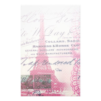 chic french scripts lace pink paris eiffel tower stationery
