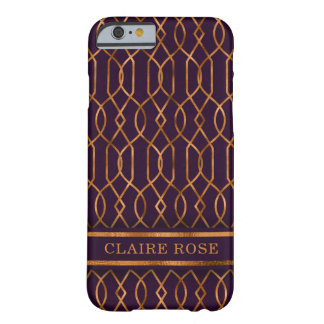 Chic Geometric Purple Gold Lattice Pattern Barely There iPhone 6 Case