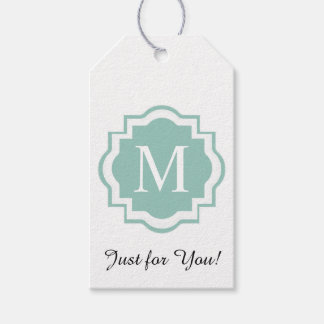 """CHIC GIFT TAG_""""JUST FOR YOU"""" SEAFOAM MONOGRAM GIFT TAGS"""