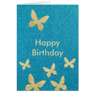 Chic Gold Butterflies Teal Happy Birthday Cards