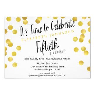 Chic Gold Confetti 50th Birthday Party Invite