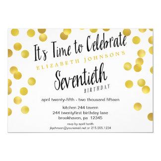 Chic Gold Confetti 70th Birthday Party Invite