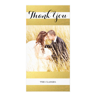 CHIC GOLD FOIL PRINT | WEDDING THANK YOU PHOTO PERSONALIZED PHOTO CARD