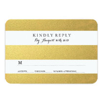 "CHIC GOLD FOIL RSVP CARDS 3.5"" X 5"" INVITATION CARD"