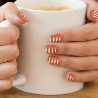Chic Gold Foil Stripes Shocking Orange Minx ® Nail Art