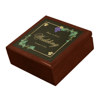 Chic Gold Frame Grape Vines Wedding Gift Box