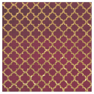 Chic Gold Glitter Quatrefoil Girly Red Burgundy Fabric