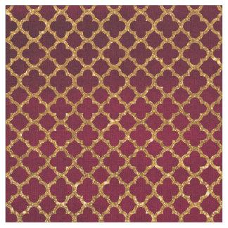 Chic Gold Glitter Quatrefoil Girly Red Burgundy Fabric