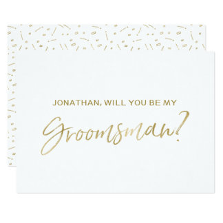 "Chic Gold Hand lettered ""Will you be my groomsman"" Card"