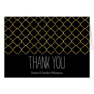 Chic Gold Quatrefoil Thank you Card